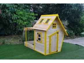 Domeček dětský dřevěný s pískovištěm Flinky + DÁREK (plastové míčky)