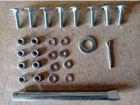 Sada šroubů a hřídele 125 mm k plnopryžovému kolečku objem korby 120L, 180L a 210L