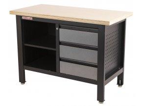 Pracovní stůl se třemi zásuvkami a policí - TSK5403-LS