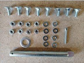 Sada šroubů a hřídele 125 mm k plnopryžovému kolečku objem korby 80L a 60L