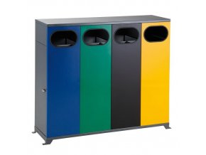 Venkovní koš na tříděný odpad - čtyřkoš