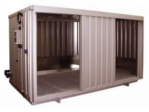 Ocelový kontejner pro chemikálie s pos. dveřmi, typ SRC 3.1W ST
