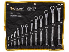 Sada vyhnutých očkových klíčů, 12 ks ve srolovatelném pouzdře - HT191005 | Hoteche