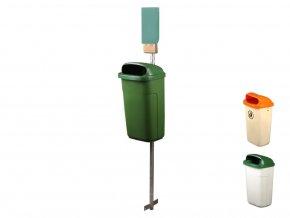Odpadkový koš na psí exkrementy 50 l, šedá nádoba, zelené víko