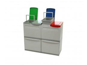 Odpadkový koš na tříděný odpad EKOMODUL 2x30 l + 4x15 l