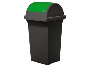 Odpadkový koš na tříděný odpad SWING 50 l, černá nádoba, zelené víko