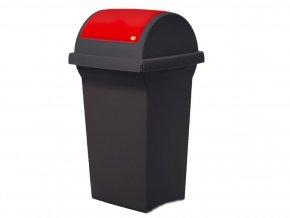Odpadkový koš na tříděný odpad SWING 50 l, černá nádoba, červené víko