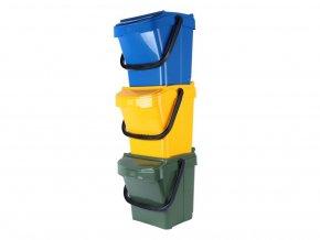 Odpadkový koš URBA PLUS 40 l, žlutá+zelená+modrá