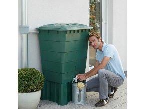Plastová nádrž na dešťovou vodu RHIN 300-520 l, zelená,300 l