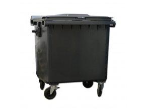 Plastový kontejner 1100 l s plochým víkem, černá