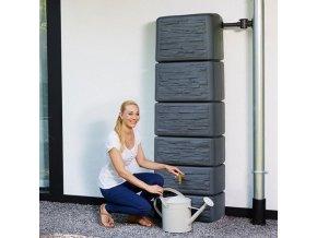 Zahradní plastová nádrž na dešťovou vodu SEINE 300 l, stone, grafit/kámen