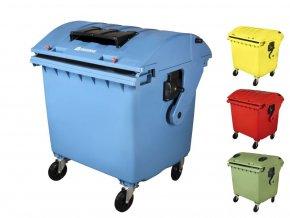 Plastový kontejner 1100 l na tříděný sběr, design C,zelená