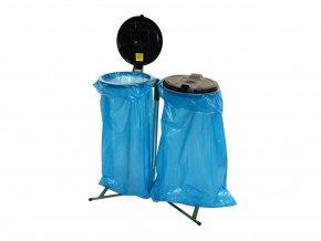 Stojan na odpadkové pytle 120 l klasický, víko plast. černé+žluté,na 2 pytle,zelená