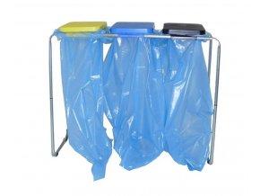 Stojan na odpadkové pytle 70-120 l trubkový, víko plast. černé+zel.+žl.+modré,na 4 pytle,zelená,70 l