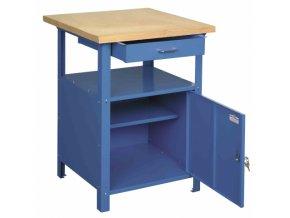 Ponk - dílenský stůl SW1 600x600x830 mm, 1 zásuvka, šedá