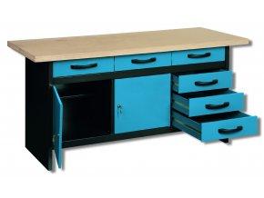 Ponk - PROFI dílenský stůl SWK13 1700x600x830 mm, 6 zásuvek, modrá