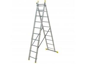 Hliníkové štafle DW 2x10 příček 2690x894x120 mm, nosnost 150 kg, hliník