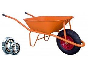 Stavební kolečko PROFI 60l oranžové KSLN02/PU - s polyuretanovým kolem a kuličkovými ložisky