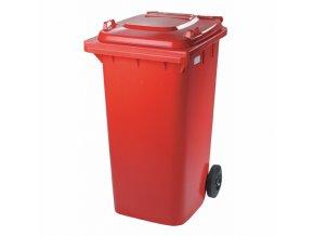 Plastová nádoba s kolečky červená, 240l