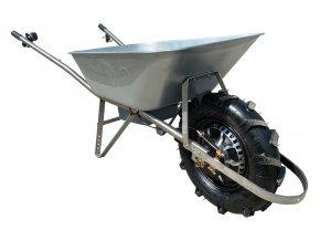 Akumulátorové kolečko PROFI s brzdou, výztuhou a předním obloukem (Motor 500W, Objem korby 80 litrů (pozinkovaná), Přídavná kola S přídavnými koly (nafukovací pneumatiky))