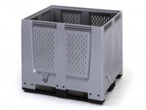 Paletový box 1200x1000x1000 perforovaný (MBO 1210), 900 l, 3 ližiny