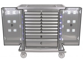 Dílenský vozík Titan s nářadím 405 ks, černý - TBR0109-XBBAL2 | AHProfi