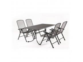 Zahradní stůl z tahokovu + 4 polohovatelné židle MWH Basani 4+
