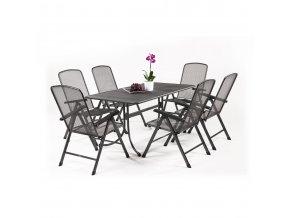Zahradní stůl z tahokovu + 6 poloh. židlí MWH Basani 6+
