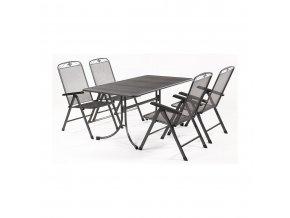 Zahradní stůl z tahokovu + 4 poloh. židle MWH Basanis 4+