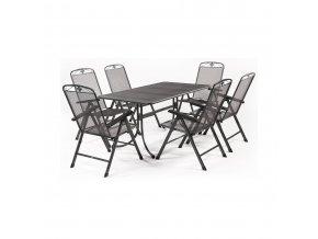 Zahradní stůl z tahokovu + 6 polohovatelných židlí MWH Basanis 6+