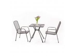 Malý zahradní stůl + 2 židle z tahokovu MWH Sabi 2+
