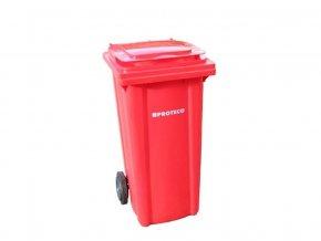 Plastová popelnice 120 L červená s kolečky