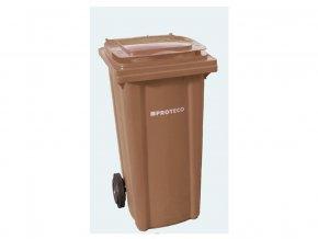 Plastová popelnice 120 L hnědá s kolečky