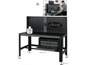 Pracovní stůl, komplet vč.nasazovací skříně a spodní skříně jakož i pár přídržných plechů VIGOR V2604