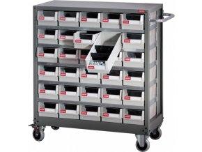 Pojízdný kovový organizér dílenský s 30 zásuvkami pro náročné použití - NHD-530