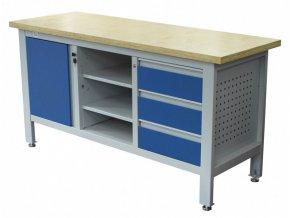 Pracovní stůl se třemi zásuvkami, skříňkou a policí - TSK7513-L