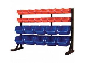 Kovový organizér na šroubky s 26 plastovými boxy - MSBRT3626