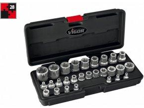 Sada nástrčných hlavic E-Torx, v kufru, 28 ks VIGOR V2687