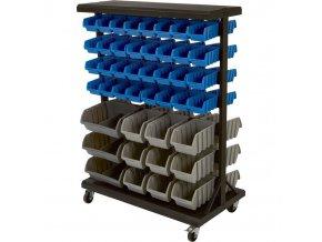 Oboustranný kovový pojízdný organizér na šroubky s 88 plastovými boxy (14/88) - SBRM3388