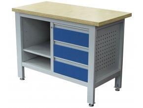 Pracovní stůl se třemi zásuvkami a policí - TSK5403-L