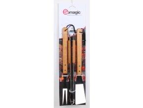 Somagic, Sada 3 ks nerezového grilovacího náčiní s dřevěnou rukojetí (kleště 36 cm + obracečka 36 cm + vidlice 36 cm)