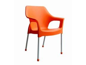 Mega Plast, plastová židle DOLCE (AL nohy), 82,5 x 59 x 55 cm, stohovatelná, oranžová