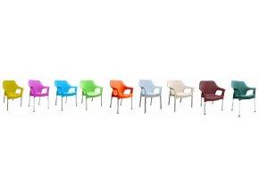 Mega Plast, plastová židle URBAN (AL nohy), 83,5 x 60 x 54 cm, stohovatelná, tyrkysová