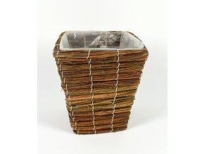 DUE ESSE, Proutěný hranatý květináč 18 x 18 cm, hnědý