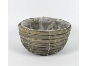 DUE ESSE, Proutěný květináč, průměr 22 cm, šedý