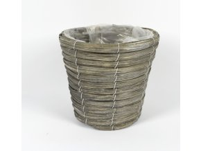 DUE ESSE, Proutěný květináč, průměr 20 cm, šedý