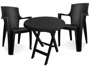 Mega Plast, set plastového zahradního nábytku AMELIA antracit - 2 x křeslo + stůl TEO průměr 70 cm