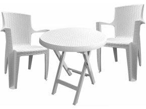 Mega Plast, set plastového zahradního nábytku AMELIA bílý - 2 x křeslo + stůl TEO průměr 70 cm