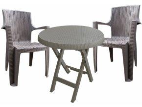 Mega Plast, set plastového zahradního nábytku AMELIA mocca - 2 x křeslo + stůl TEO průměr 70 cm