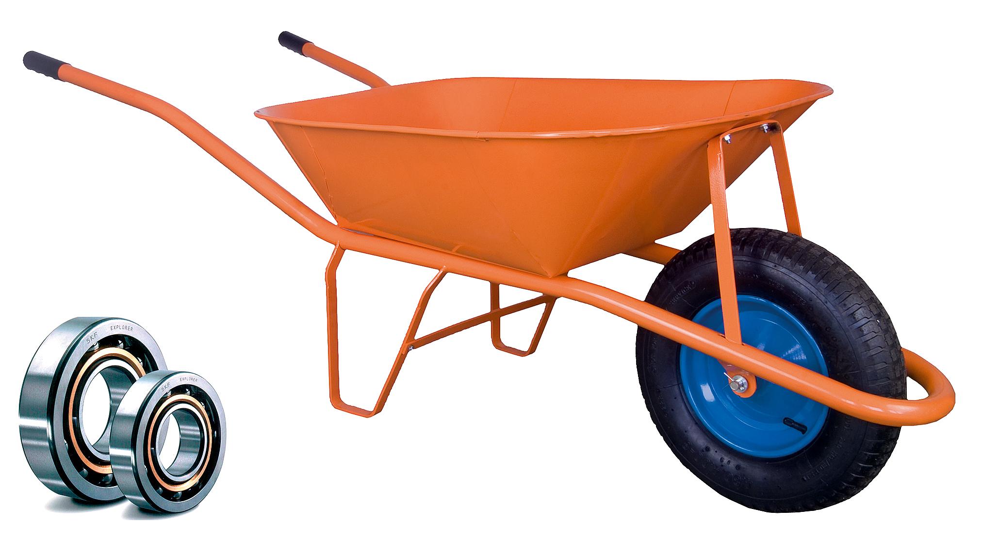 HTI Stavební kolečko PROFI 60l oranžové s nafukovací pneumatikou KULIČKOVÁ LOŽISKA KSL02